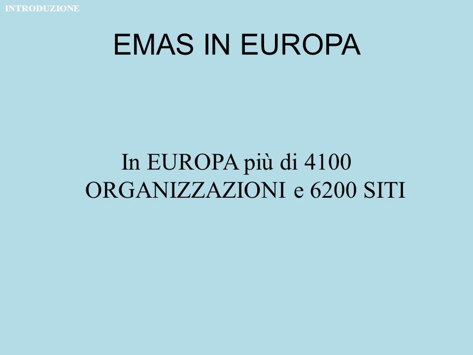 EMAS IN EUROPA In EUROPA più di 4100 ORGANIZZAZIONI e 6200 SITI INTRODUZIONE