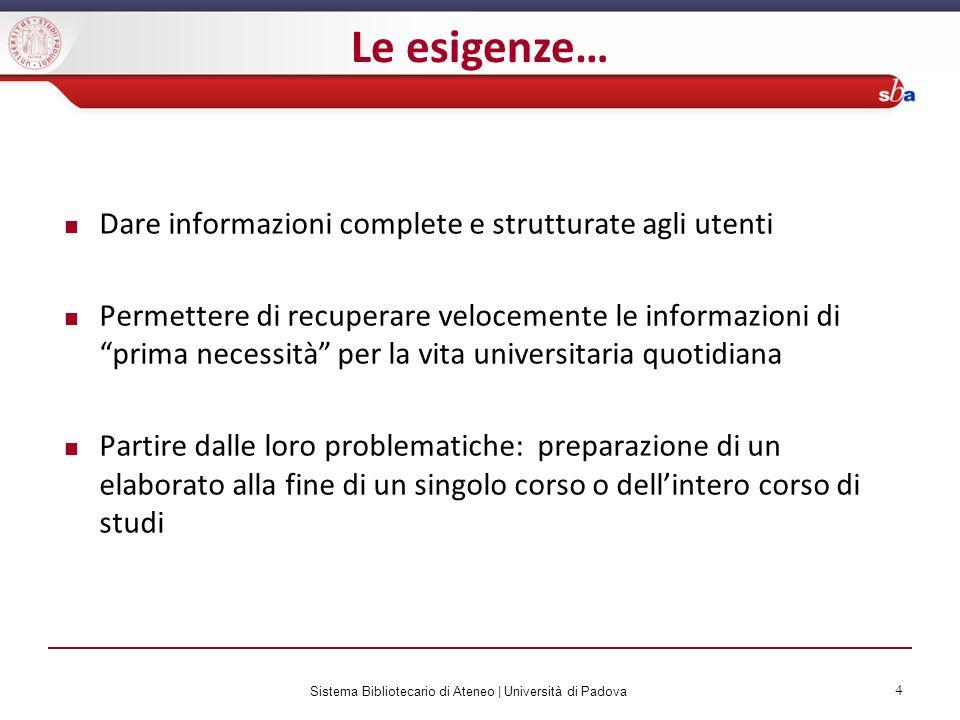 Sistema Bibliotecario di Ateneo   Università di Padova 4 Dare informazioni complete e strutturate agli utenti Permettere di recuperare velocemente le
