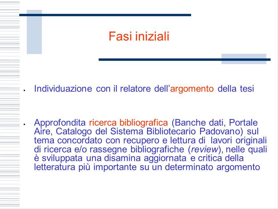 Fasi iniziali Individuazione con il relatore dellargomento della tesi Approfondita ricerca bibliografica (Banche dati, Portale Aire, Catalogo del Sist