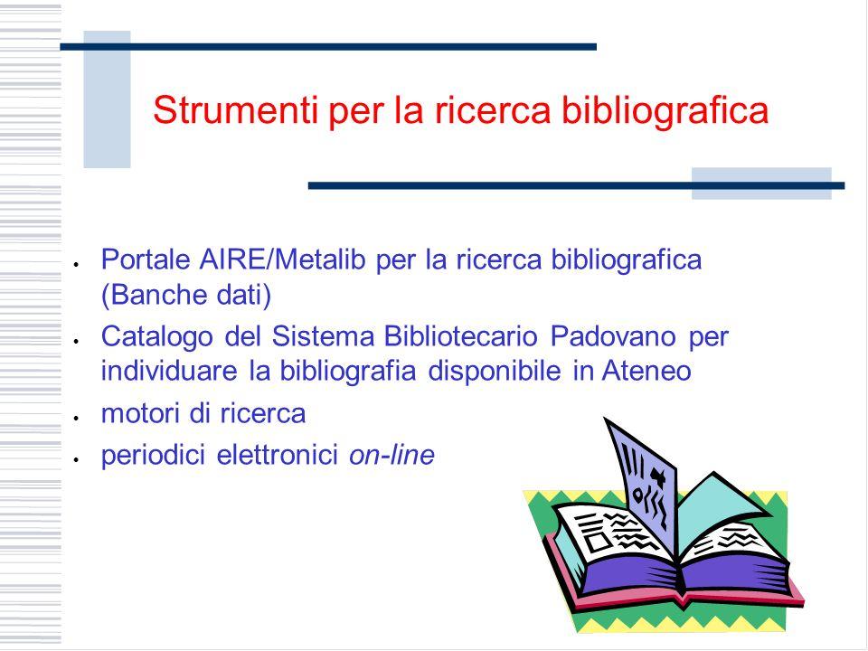 Strumenti per la ricerca bibliografica Portale AIRE/Metalib per la ricerca bibliografica (Banche dati) Catalogo del Sistema Bibliotecario Padovano per