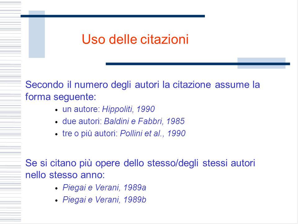 Uso delle citazioni Secondo il numero degli autori la citazione assume la forma seguente: un autore: Hippoliti, 1990 due autori: Baldini e Fabbri, 198