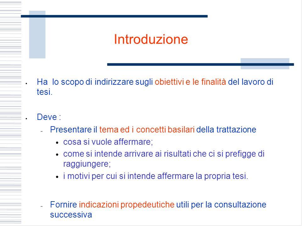 Introduzione Ha lo scopo di indirizzare sugli obiettivi e le finalità del lavoro di tesi. Deve : Presentare il tema ed i concetti basilari della tratt