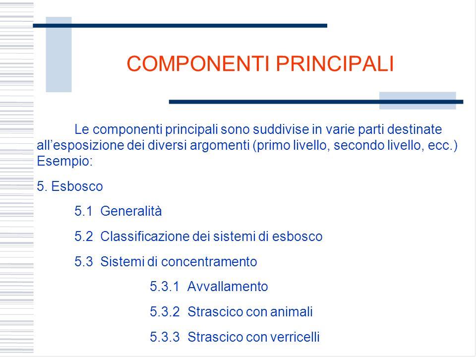 COMPONENTI PRINCIPALI Le componenti principali sono suddivise in varie parti destinate allesposizione dei diversi argomenti (primo livello, secondo li