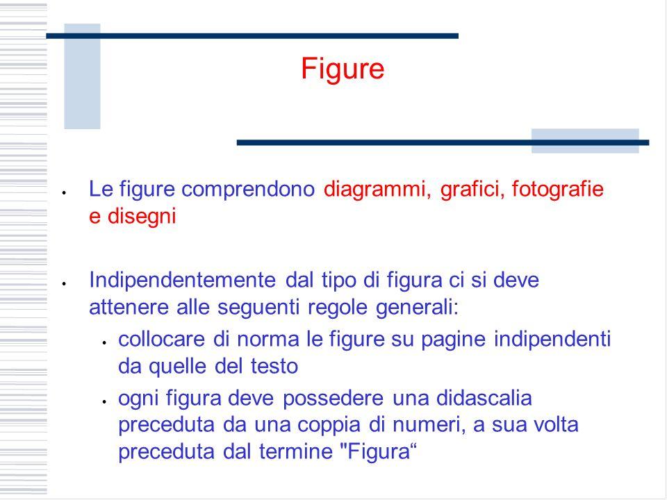 Le figure comprendono diagrammi, grafici, fotografie e disegni Indipendentemente dal tipo di figura ci si deve attenere alle seguenti regole generali: