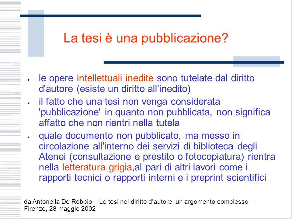 La tesi è una pubblicazione? le opere intellettuali inedite sono tutelate dal diritto d'autore (esiste un diritto allinedito) il fatto che una tesi no
