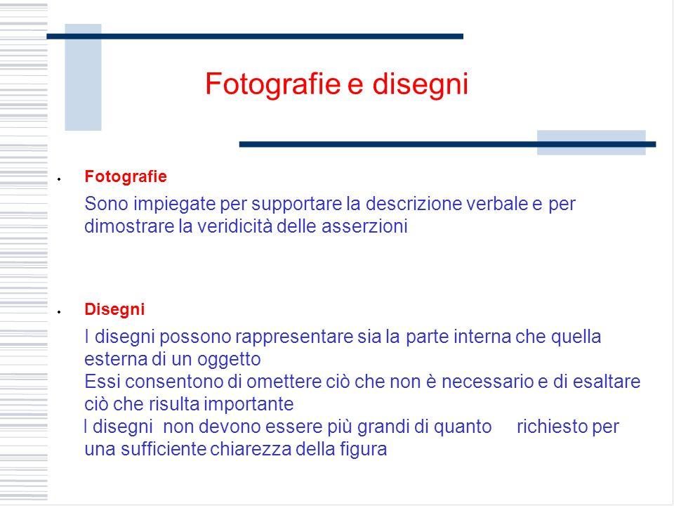 Fotografie Sono impiegate per supportare la descrizione verbale e per dimostrare la veridicità delle asserzioni Disegni I disegni possono rappresentar