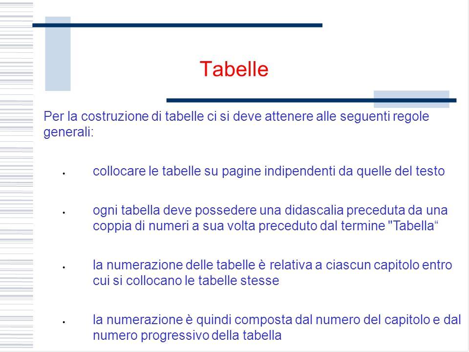 Per la costruzione di tabelle ci si deve attenere alle seguenti regole generali: collocare le tabelle su pagine indipendenti da quelle del testo ogni