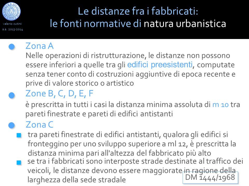 valerio cutini a.a. 2013-2014 Zona A Zona C Zone B, C, D, E, F Le distanze fra i fabbricati: le fonti normative di natura urbanistica DM 1444/1968 Nel