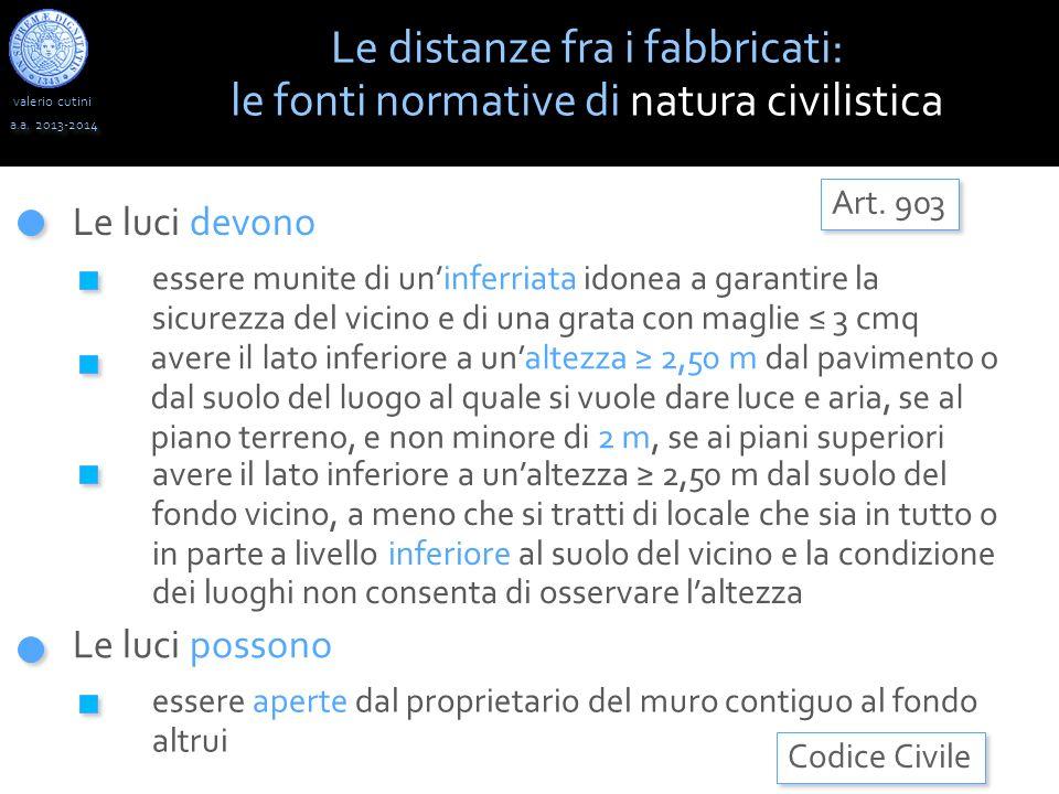 valerio cutini a.a. 2013-2014 Le luci devono Le distanze fra i fabbricati: le fonti normative di natura civilistica Codice Civile Art. 903 essere muni