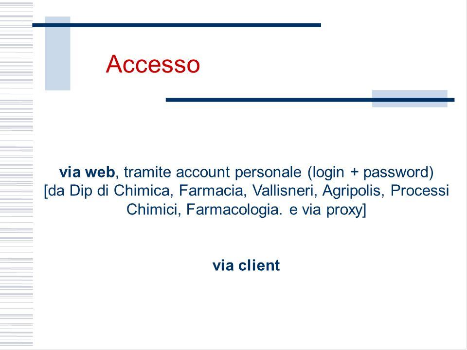 via web, tramite account personale (login + password) [da Dip di Chimica, Farmacia, Vallisneri, Agripolis, Processi Chimici, Farmacologia. e via proxy