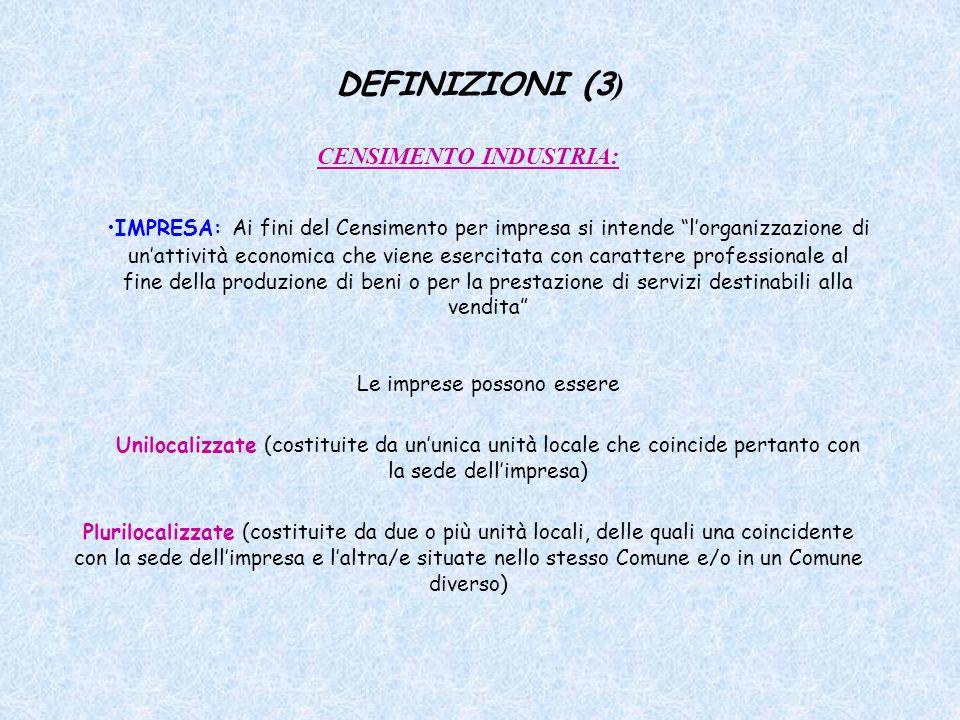 DEFINIZIONI (3 ) CENSIMENTO INDUSTRIA: IMPRESA: Ai fini del Censimento per impresa si intende lorganizzazione di unattività economica che viene eserci
