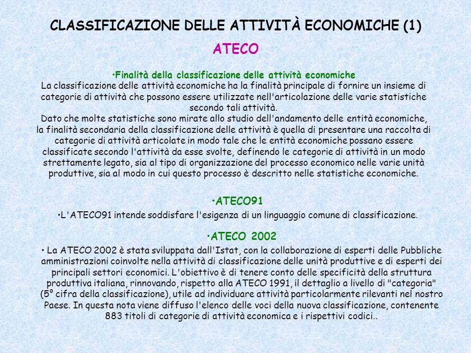 CLASSIFICAZIONE DELLE ATTIVITÀ ECONOMICHE (1) Finalità della classificazione delle attività economiche La classificazione delle attività economiche ha
