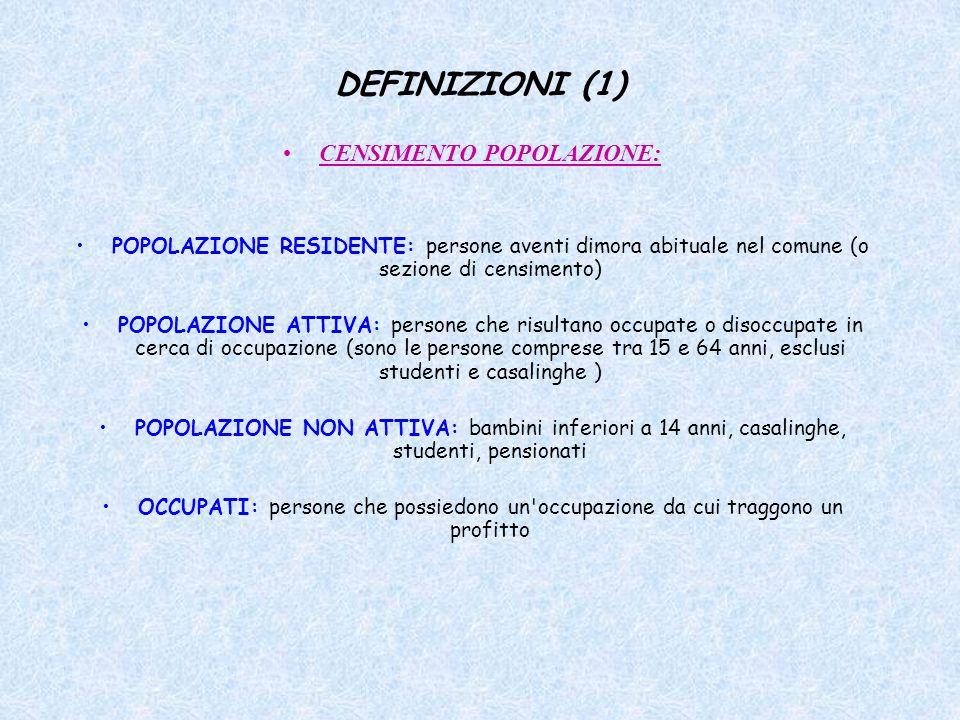DEFINIZIONI (1) CENSIMENTO POPOLAZIONE: POPOLAZIONE RESIDENTE: persone aventi dimora abituale nel comune (o sezione di censimento) POPOLAZIONE ATTIVA:
