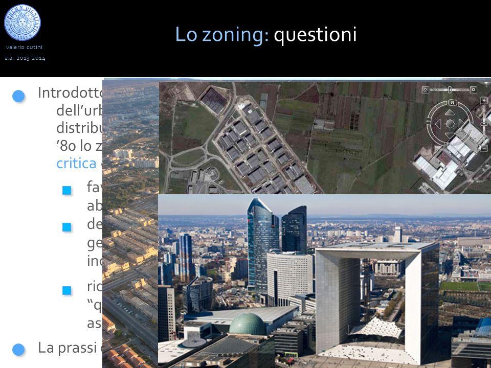 valerio cutini Lo zoning: questioni a.a. 2013-2014 Introdotto nel processo di pianificazione come un portato dellurbanistica moderna, funzionale a raz