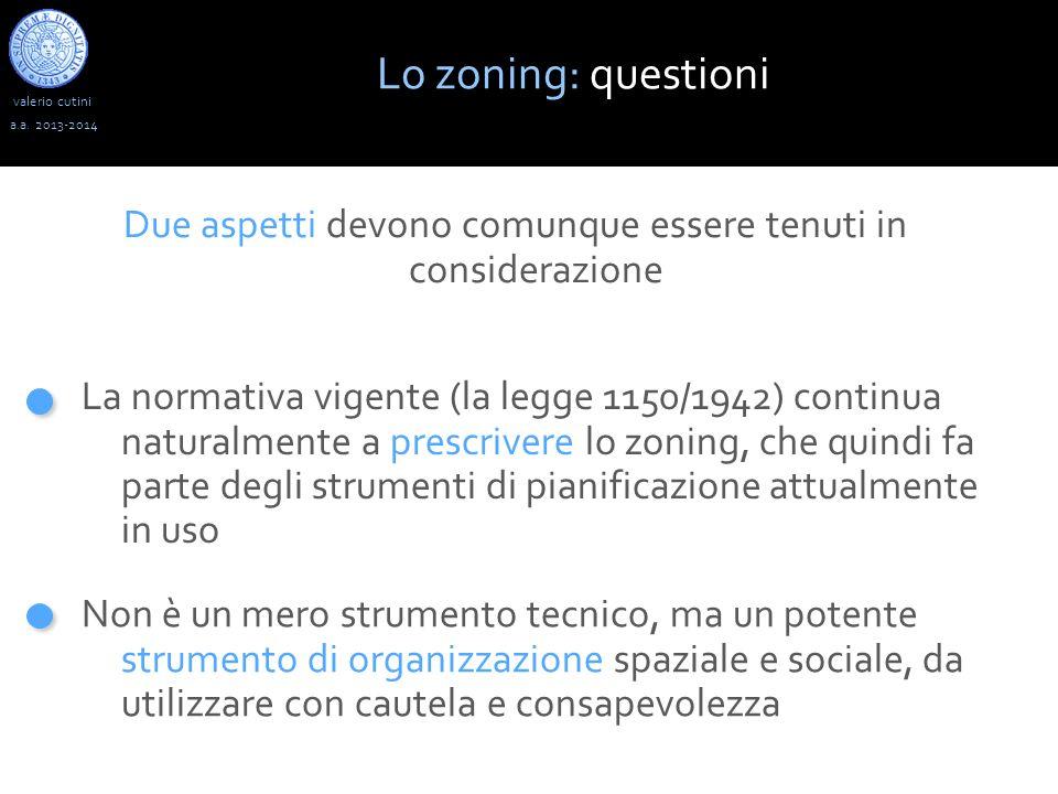 valerio cutini Lo zoning: questioni a.a. 2013-2014 La normativa vigente (la legge 1150/1942) continua naturalmente a prescrivere lo zoning, che quindi