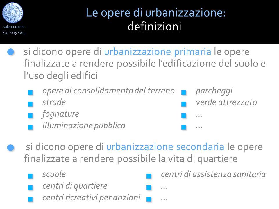 valerio cutini Le opere di urbanizzazione: definizioni a.a. 2013-2014 si dicono opere di urbanizzazione primaria le opere finalizzate a rendere possib
