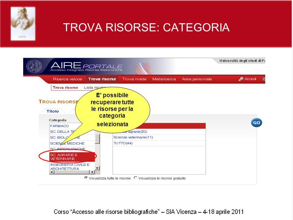 TROVA RISORSE: CATEGORIA E possibile recuperare tutte le risorse per la categoria selezionata