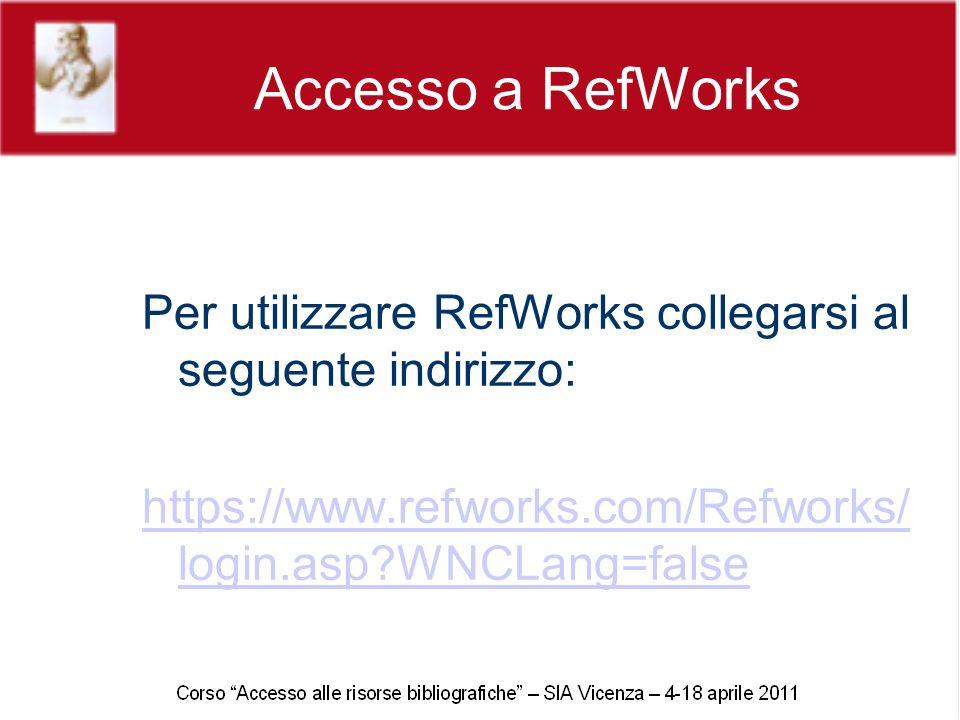 Accesso a RefWorks Per utilizzare RefWorks collegarsi al seguente indirizzo: https://www.refworks.com/Refworks/ login.asp WNCLang=false
