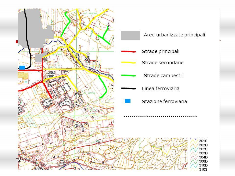 LEGENDA Aree urbanizzate principali Strade principali Strade secondarie Strade campestri Linea ferroviaria Stazione ferroviaria ………………………………