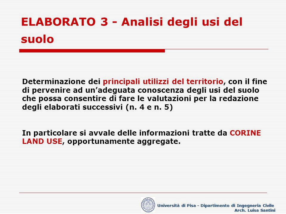ELABORATO 3 - Analisi degli usi del suolo Università di Pisa - Dipartimento di Ingegneria Civile Arch. Luisa Santini Determinazione dei principali uti