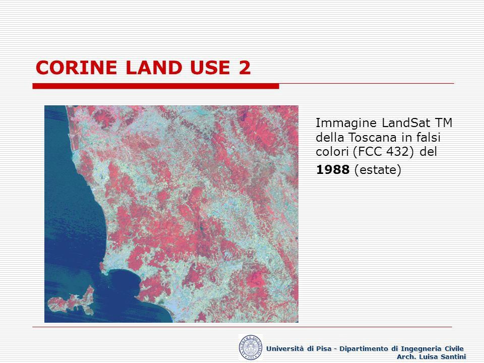 CORINE LAND USE 2 Immagine LandSat TM della Toscana in falsi colori (FCC 432) del 1988 (estate) Università di Pisa - Dipartimento di Ingegneria Civile