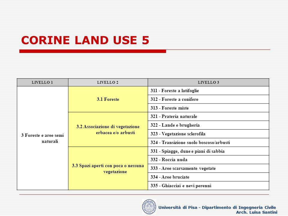 CORINE LAND USE 5 LIVELLO 1LIVELLO 2LIVELLO 3 3 Foreste e aree semi naturali 3.1 Foreste 311 - Foreste a latifoglie 312 - Foreste a conifere 313 - For