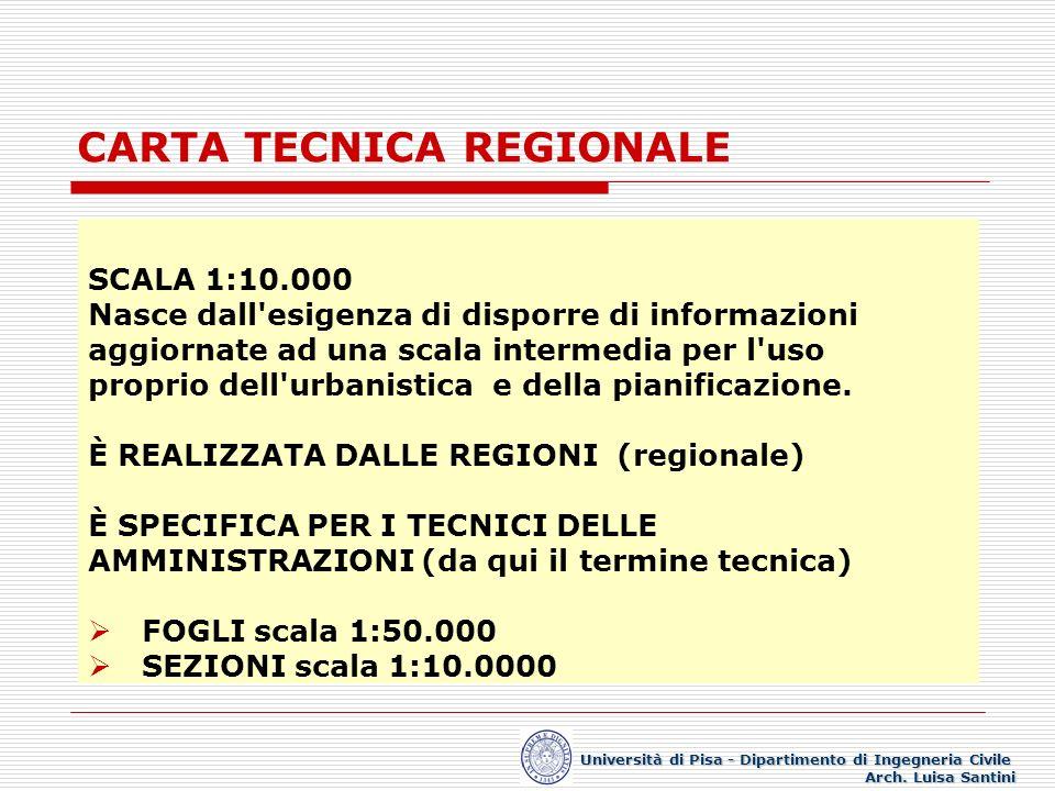 CARTA TECNICA REGIONALE SCALA 1:10.000 Nasce dall'esigenza di disporre di informazioni aggiornate ad una scala intermedia per l'uso proprio dell'urban