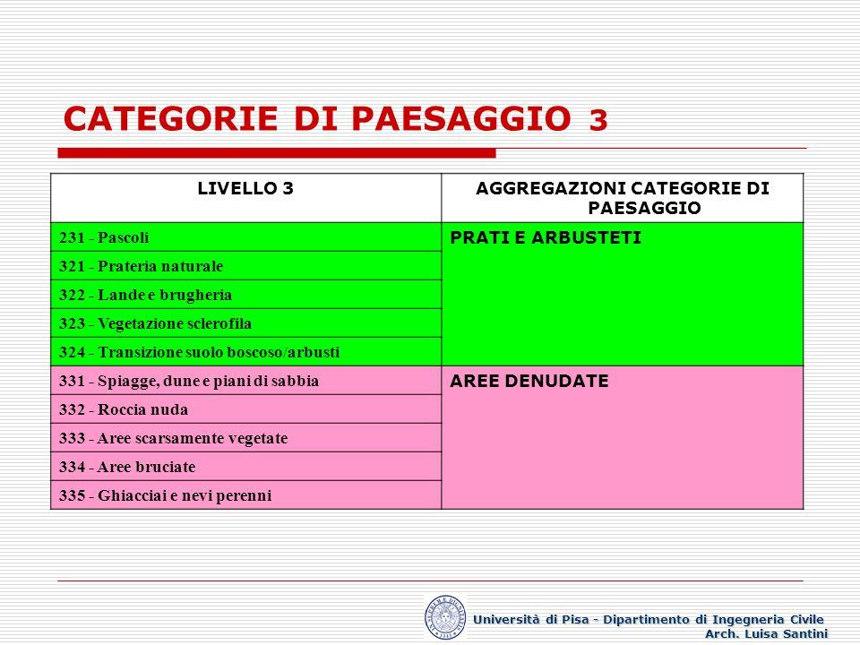 CATEGORIE DI PAESAGGIO 3 Università di Pisa - Dipartimento di Ingegneria Civile Arch. Luisa Santini LIVELLO 3AGGREGAZIONI CATEGORIE DI PAESAGGIO 231 -