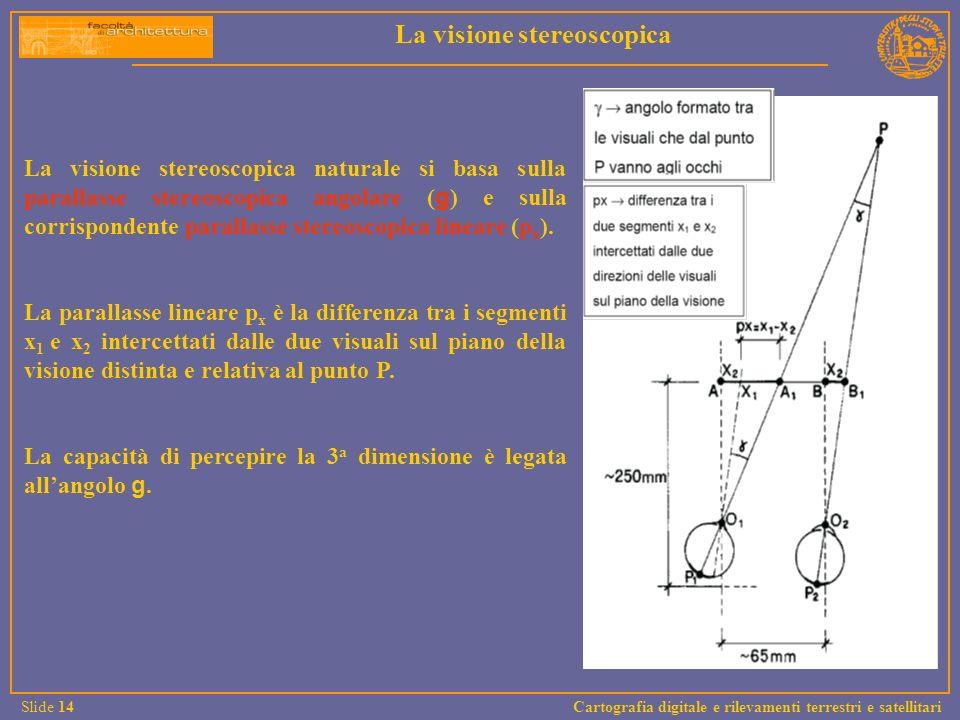 La visione stereoscopica naturale si basa sulla parallasse stereoscopica angolare ( g ) e sulla corrispondente parallasse stereoscopica lineare (p x )
