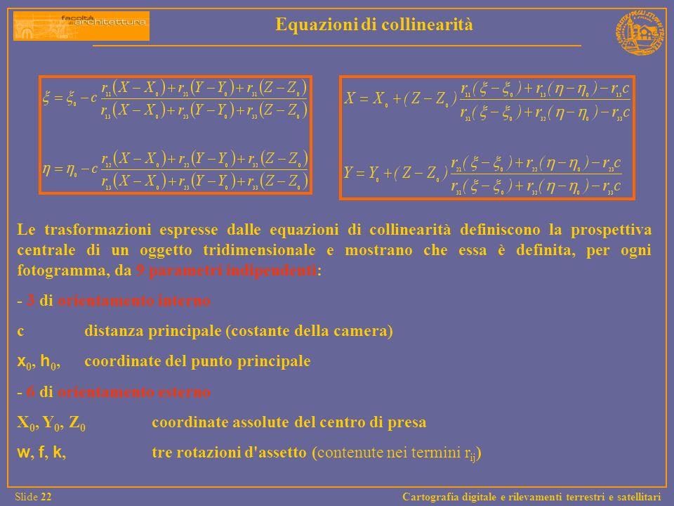 Le trasformazioni espresse dalle equazioni di collinearità definiscono la prospettiva centrale di un oggetto tridimensionale e mostrano che essa è def