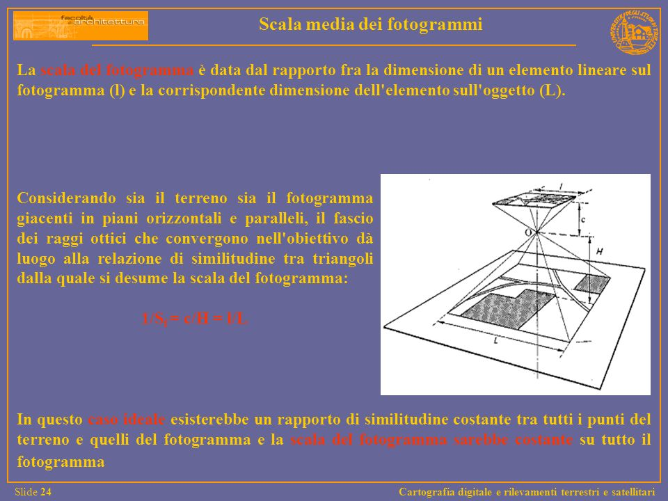 La scala del fotogramma è data dal rapporto fra la dimensione di un elemento lineare sul fotogramma (l) e la corrispondente dimensione dell'elemento s