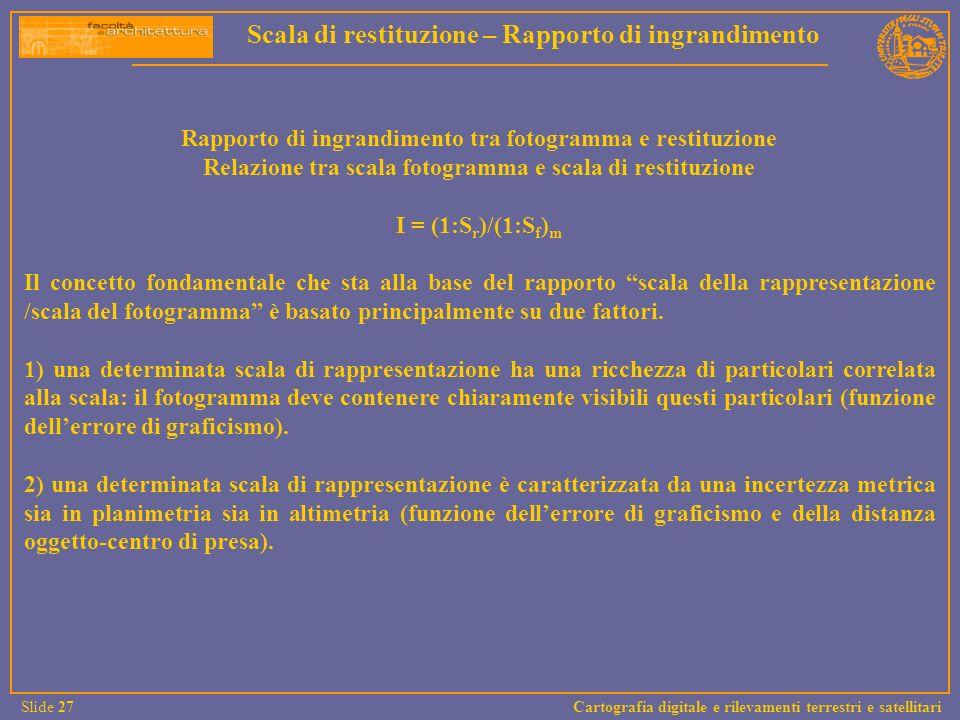Rapporto di ingrandimento tra fotogramma e restituzione Relazione tra scala fotogramma e scala di restituzione I = (1:S r )/(1:S f ) m Il concetto fon