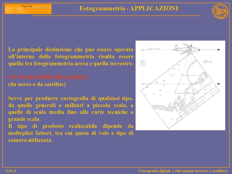 La principale distinzione che può essere operata allinterno della fotogrammetria risulta essere quella tra fotogrammetria aerea e quella terrestre. FO