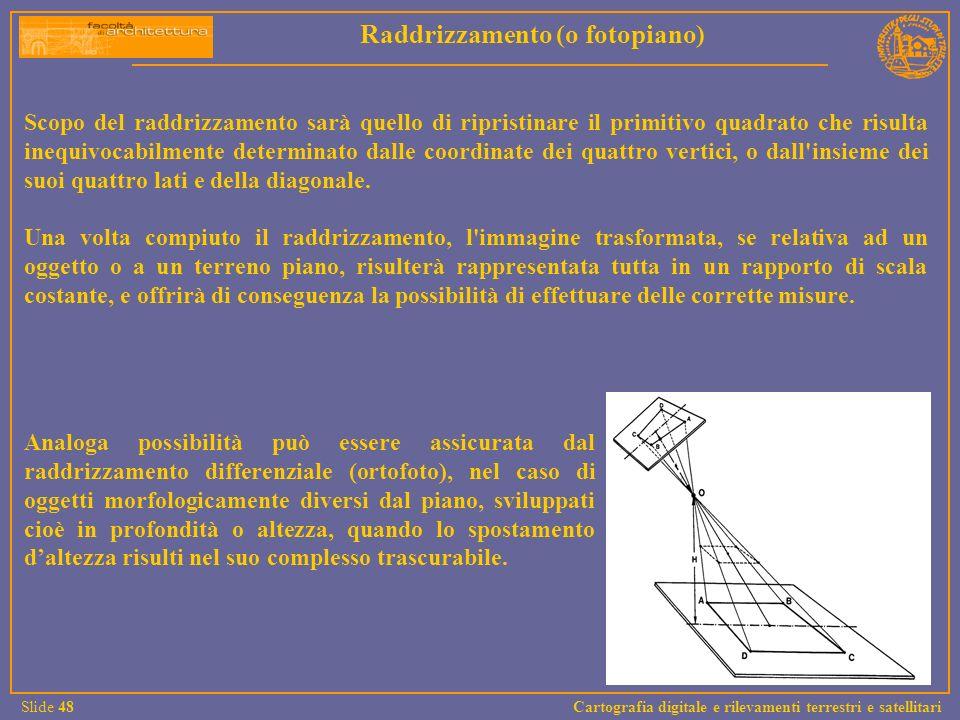 Scopo del raddrizzamento sarà quello di ripristinare il primitivo quadrato che risulta inequivocabilmente determinato dalle coordinate dei quattro ver