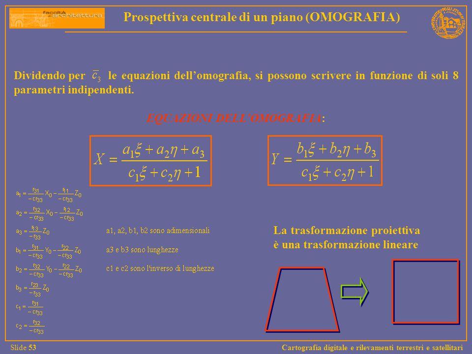 Dividendo per le equazioni dellomografia, si possono scrivere in funzione di soli 8 parametri indipendenti. EQUAZIONI DELLOMOGRAFIA: La trasformazione