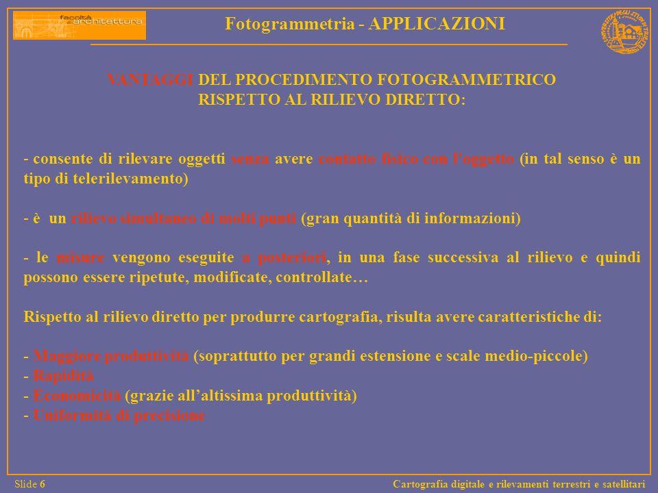 Rapporto di ingrandimento tra fotogramma e restituzione Relazione tra scala fotogramma e scala di restituzione I = (1:S r )/(1:S f ) m Il concetto fondamentale che sta alla base del rapporto scala della rappresentazione /scala del fotogramma è basato principalmente su due fattori.