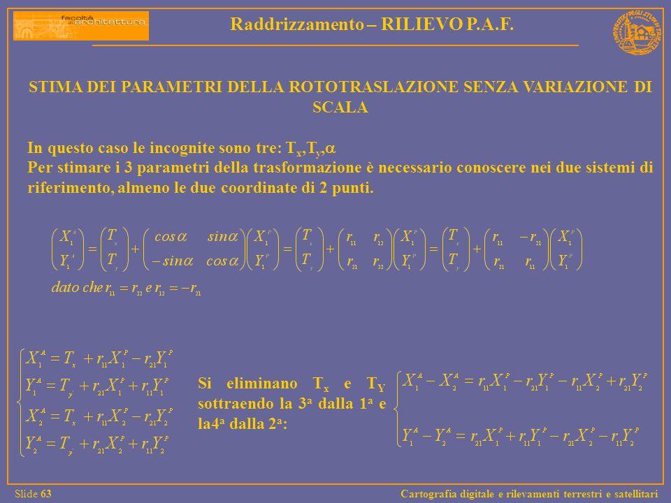 STIMA DEI PARAMETRI DELLA ROTOTRASLAZIONE SENZA VARIAZIONE DI SCALA In questo caso le incognite sono tre: T x,T y, Per stimare i 3 parametri della tra