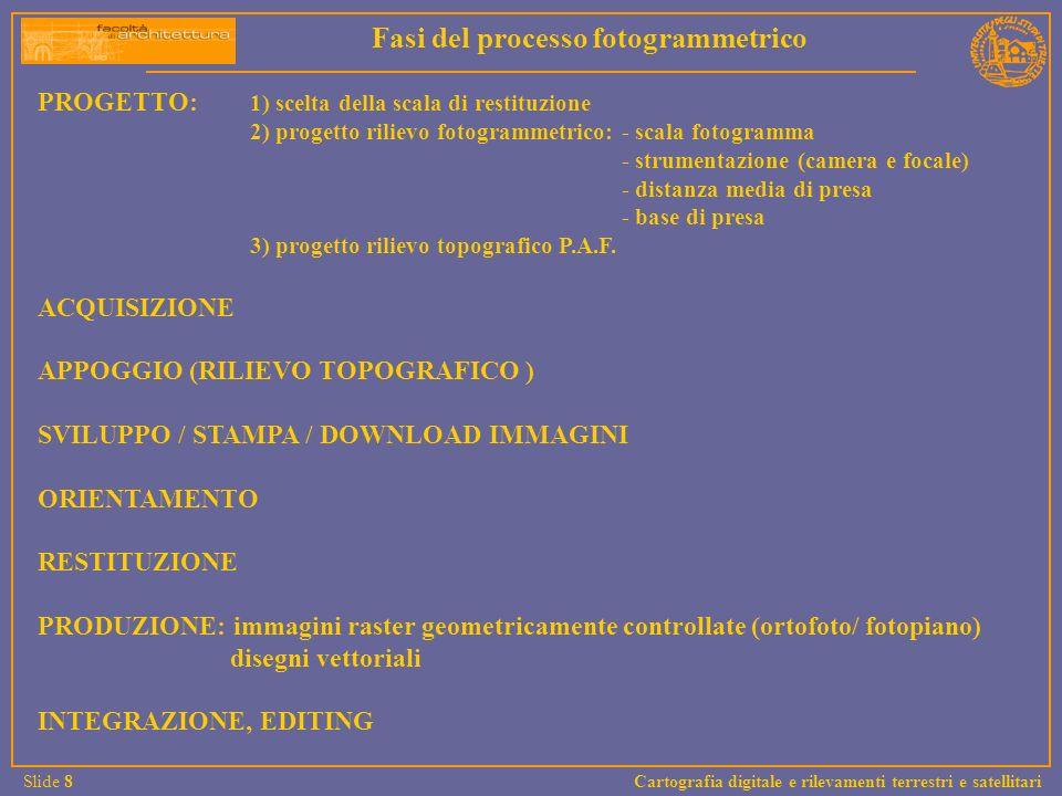 PROGETTO: 1) scelta della scala di restituzione 2) progetto rilievo fotogrammetrico: - scala fotogramma - strumentazione (camera e focale) - distanza