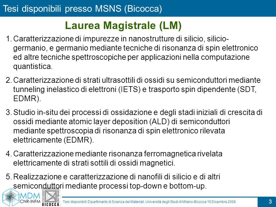 3 Tesi disponibili: Dipartimento di Scienza dei Materiali, Università degli Studi di Milano-Bicocca 15 Dicembre 2009 1.Caratterizzazione di impurezze