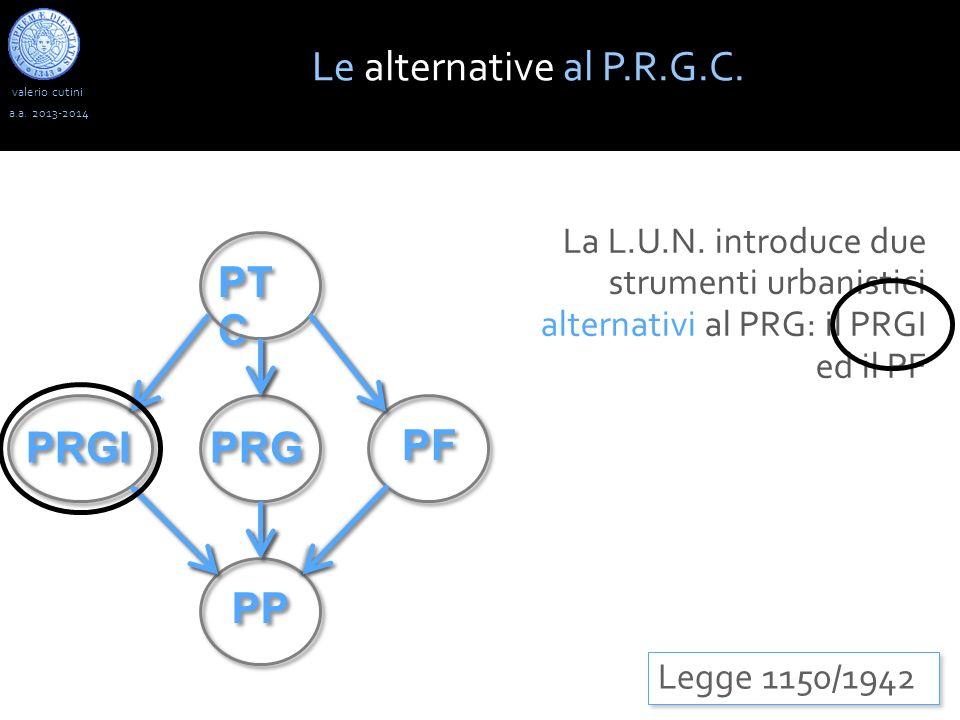 valerio cutini Le alternative al P.R.G.C. a.a. 2013-2014 Legge 1150/1942 La L.U.N. introduce due strumenti urbanistici alternativi al PRG: il PRGI ed