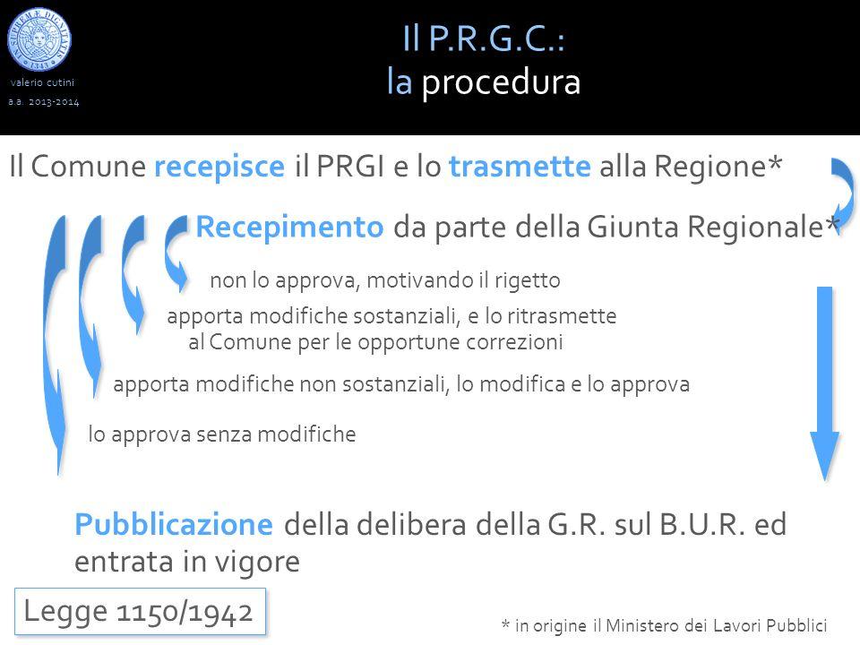 valerio cutini Il P.R.G.C.: la procedura a.a. 2013-2014 Legge 1150/1942 * in origine il Ministero dei Lavori Pubblici Recepimento da parte della Giunt