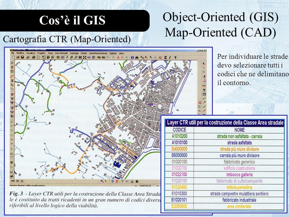 Cosè il GIS Object-Oriented (GIS) Map-Oriented (CAD) Cartografia CTR (Map-Oriented) Per individuare le strade devo selezionare tutti i codici che ne delimitano il contorno.