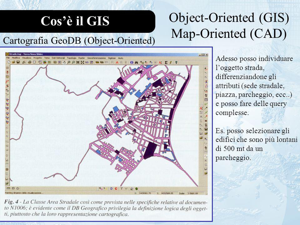 Cosè il GIS Object-Oriented (GIS) Map-Oriented (CAD) Cartografia GeoDB (Object-Oriented) Adesso posso individuare loggetto strada, differenziandone gli attributi (sede stradale, piazza, parcheggio, ecc..) e posso fare delle query complesse.