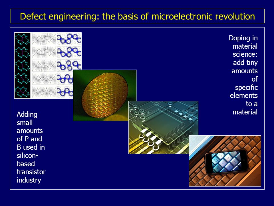 Defect engineering: the basis of microelectronic revolution Doping in material science: add tiny amounts of specific elements to a material Adding sma