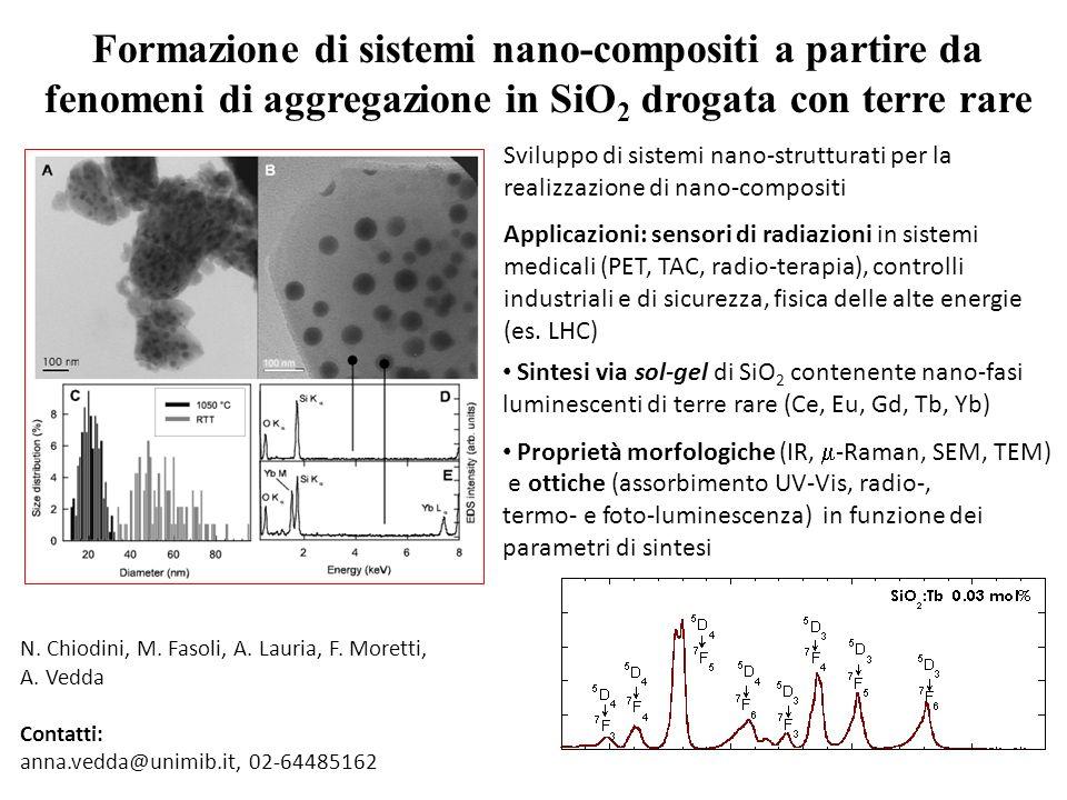 Formazione di sistemi nano-compositi a partire da fenomeni di aggregazione in SiO 2 drogata con terre rare 100 nm Sintesi via sol-gel di SiO 2 contene