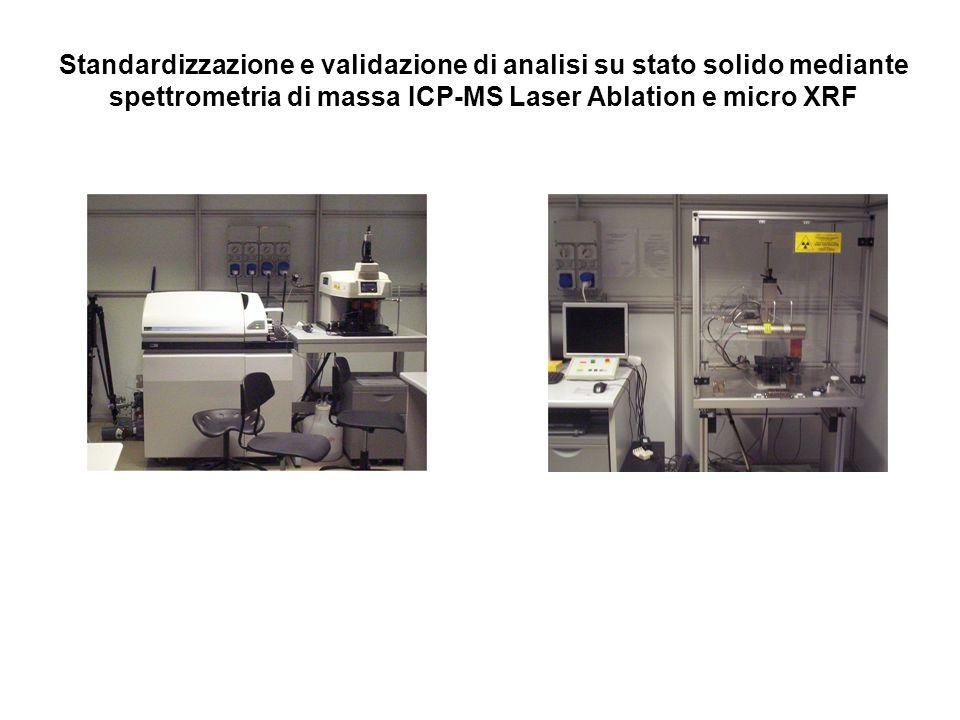 Standardizzazione e validazione di analisi su stato solido mediante spettrometria di massa ICP-MS Laser Ablation e micro XRF