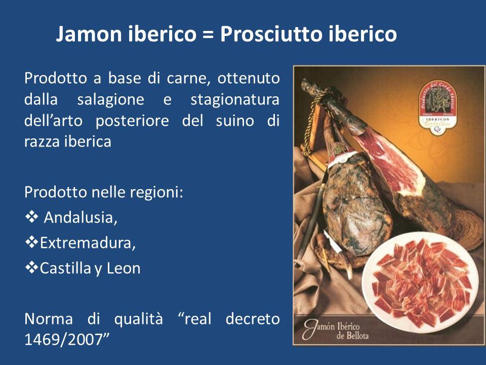 Jamon iberico = Prosciutto iberico Prodotto a base di carne, ottenuto dalla salagione e stagionatura dellarto posteriore del suino di razza iberica Pr