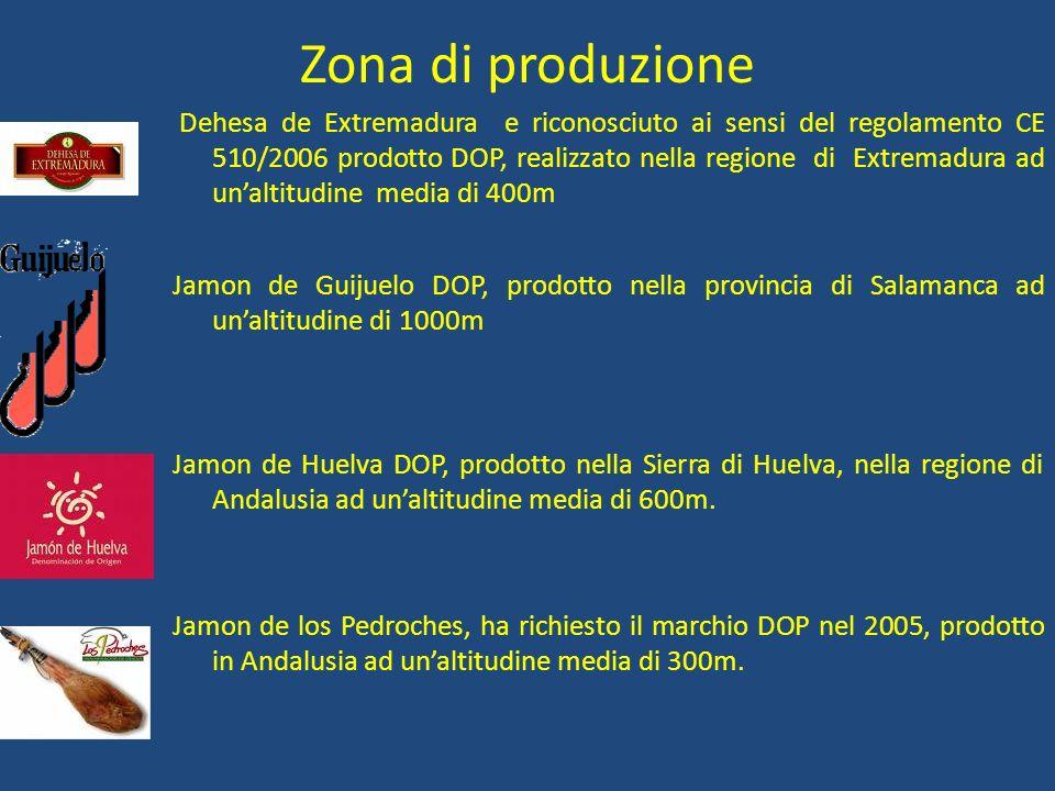 Zona di produzione Dehesa de Extremadura e riconosciuto ai sensi del regolamento CE 510/2006 prodotto DOP, realizzato nella regione di Extremadura ad