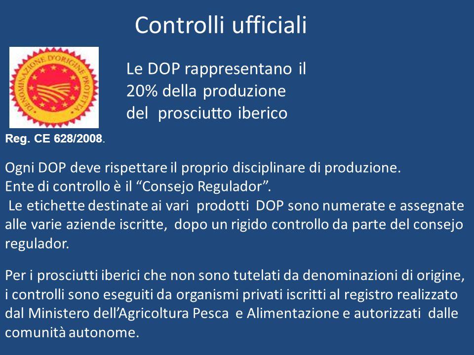 Le DOP rappresentano il 20% della produzione del prosciutto iberico Ogni DOP deve rispettare il proprio disciplinare di produzione. Ente di controllo