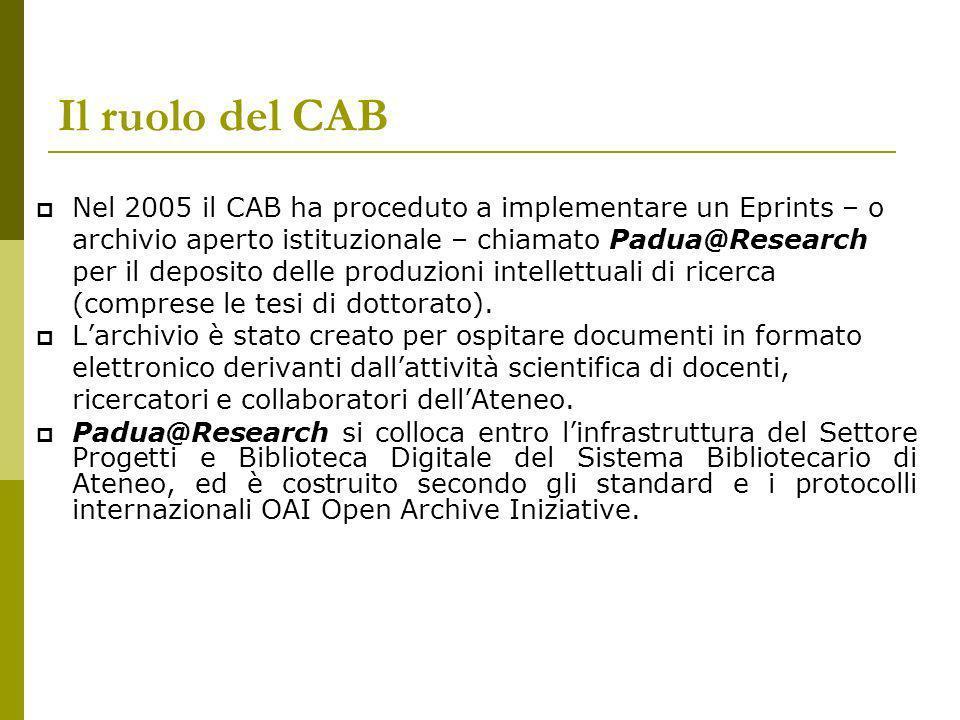 Il ruolo del CAB Nel 2005 il CAB ha proceduto a implementare un Eprints – o archivio aperto istituzionale – chiamato Padua@Research per il deposito delle produzioni intellettuali di ricerca (comprese le tesi di dottorato).